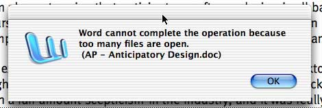 Word cannot complete the operation because too many files are open.