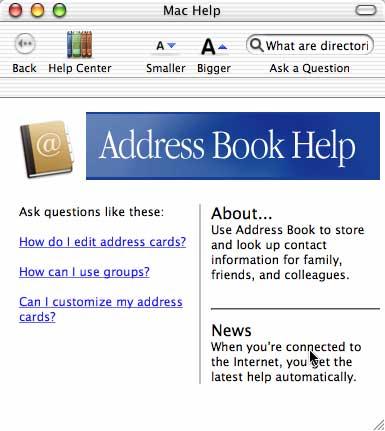 Help Viewer - Address Book