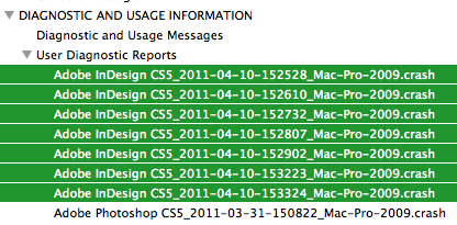 Crashes in InDesign
