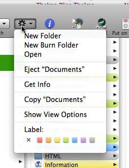 Action menu in Finder