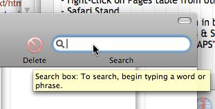 Search field in Finder toolbar