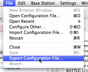File menu in AirPort Utility