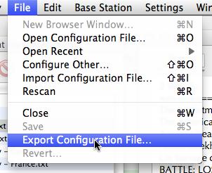 File menu in AirPort Utility