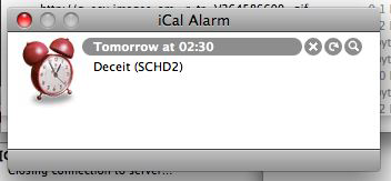iCal Alarm window