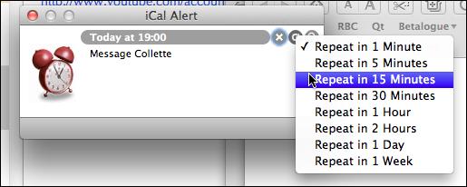 Repeat Alert menu