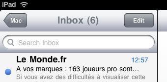 Edit button in Mail app