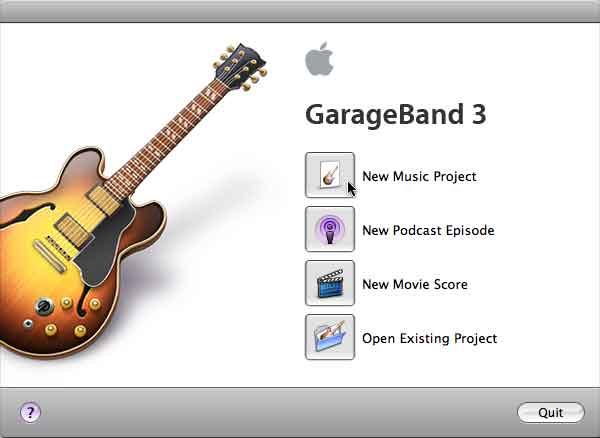 GarageBand 3 Startup Window