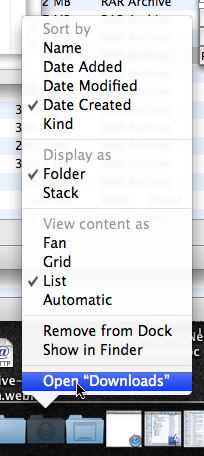 Quick way to open a Dock folder in the Finder