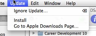 Software Update menu