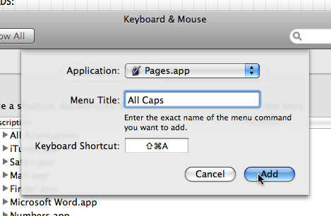 System Preferences - Keyboard Shortcuts - Pages