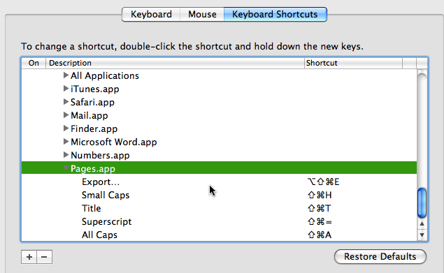 System Preferences - Keyboard Shortcuts