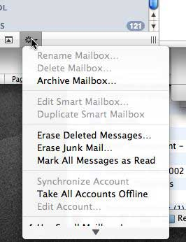 Action menu in Mail