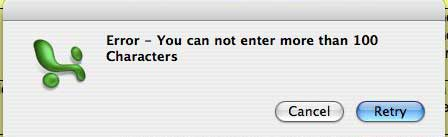 Error - You cannot enter more than 100 Characters