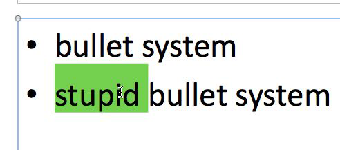 Bullet list in PowerPoint