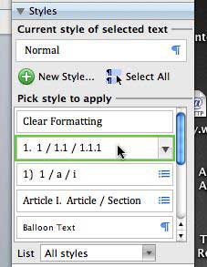Formatting Palette - Styles list