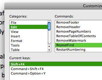 RepeatFind shortcuts