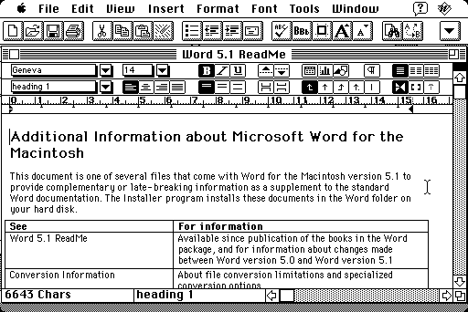 Word 5.1 screenshot