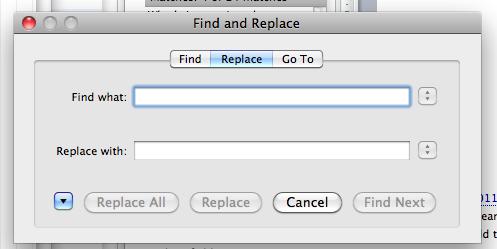Replace dialog box