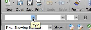 Styles in formatting toolbar