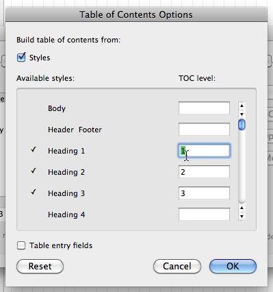 TOC options