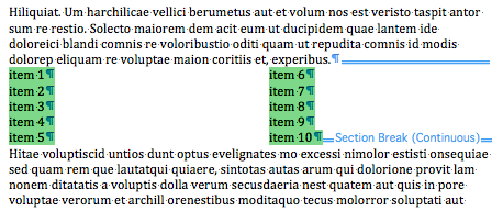 how to make two columns in word in section