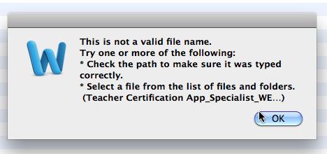 Invalid file name