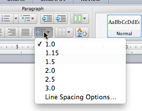 Line Spacing options