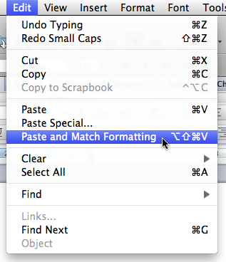 Paste and Match Formatting