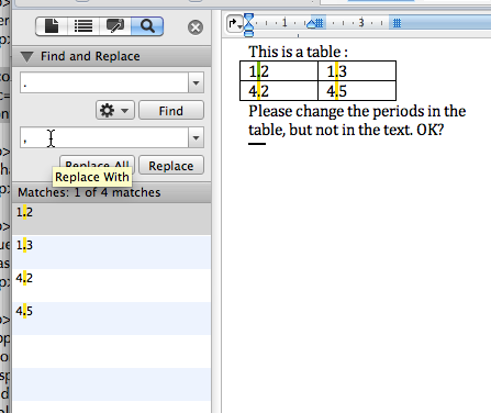Text and table