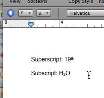 Pages document with superscript and subscript