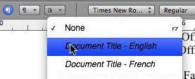 Styles menu in toolbar