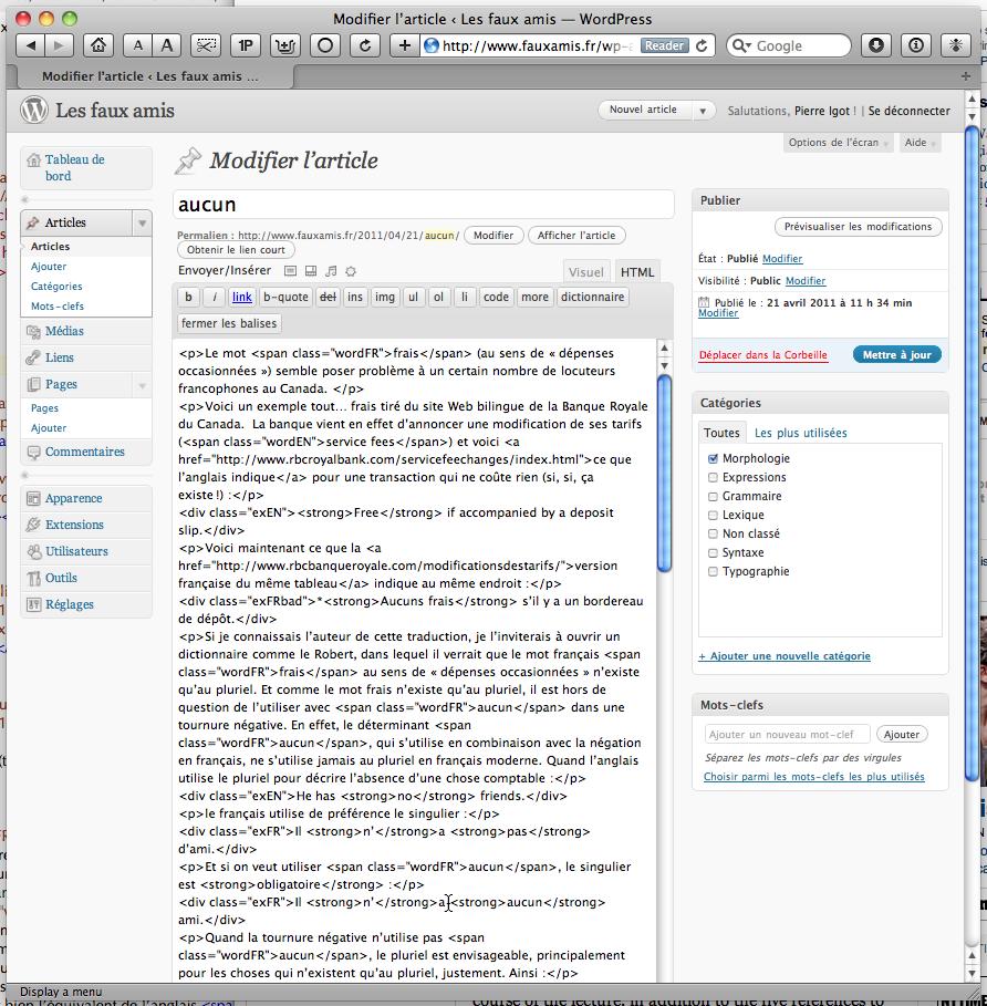 Tagged text in WordPress