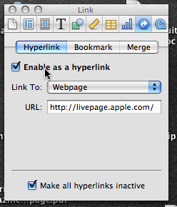 Link inspector in Pages'09
