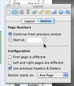 Section tab of Layout inspector