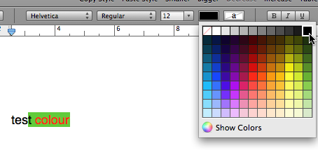 Heterogeneous text colour