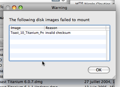 Invalid checksum