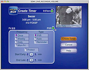 PVR timer - standard screen