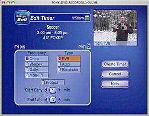 PVR timer - editing settings